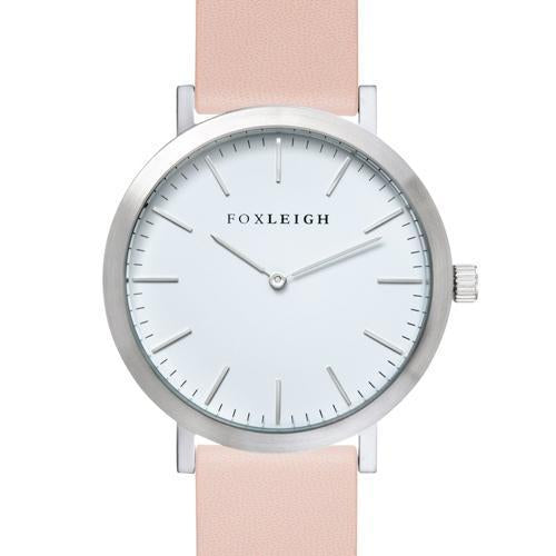 Foxleigh Silver & Peach Leather Timepiece
