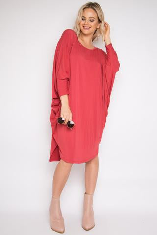 PQ Collection - Bamboo  Miracle Dress Long Sleeve In Rhubarb
