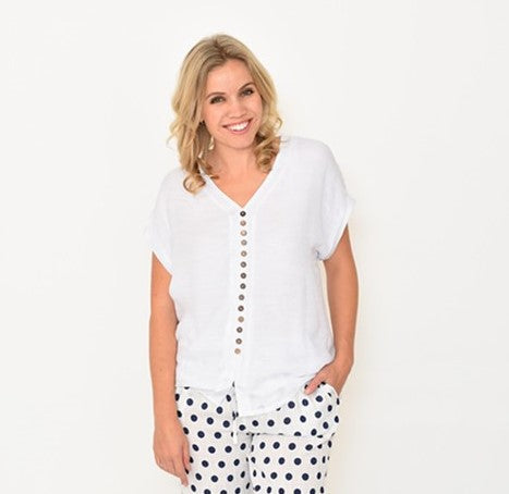 LaMode Wooden Button White Top