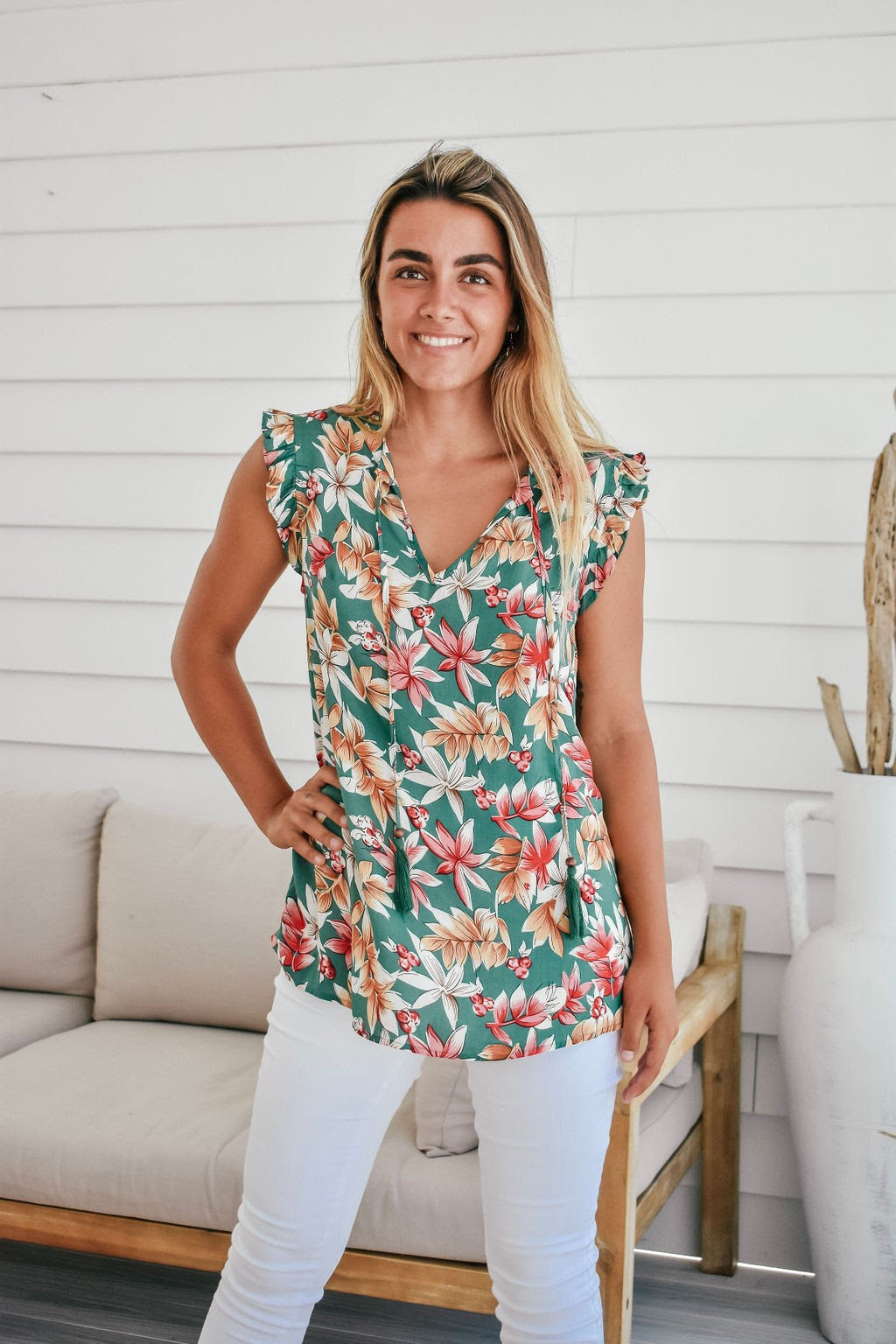 Sanctum Dark Mint Floral Top