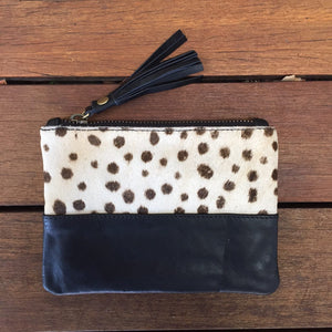 peggy minnie leather cheetah hide purse