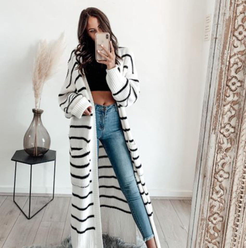 Bagira - Black & White Striped Oversized Cardi