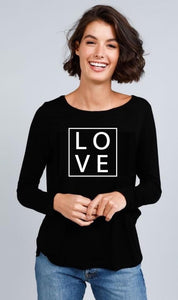 Homebody - Black Long Sleeve LOVE Tee