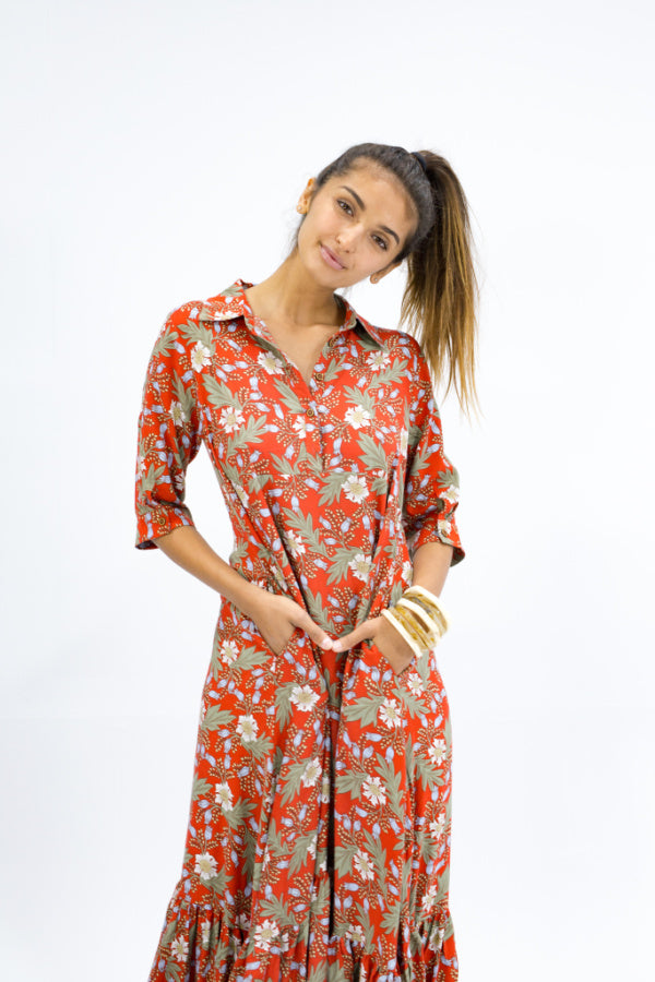 Caro The Label - Red Floral Shirt Dress