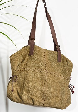 Where The Wilde Things Are - Jute Slouch Tote -  Olive