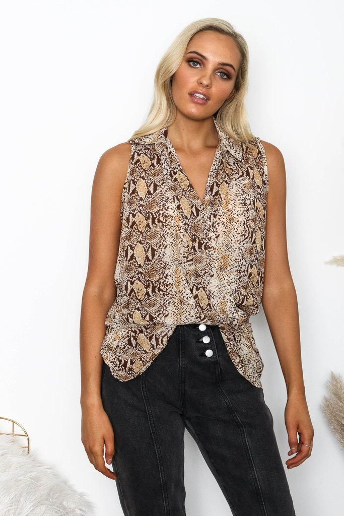 Society Addict Snake Print Sleeveless Hi-Lo Top