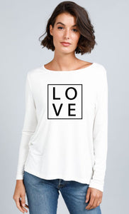 Homebody - White Long Sleeve LOVE Tee