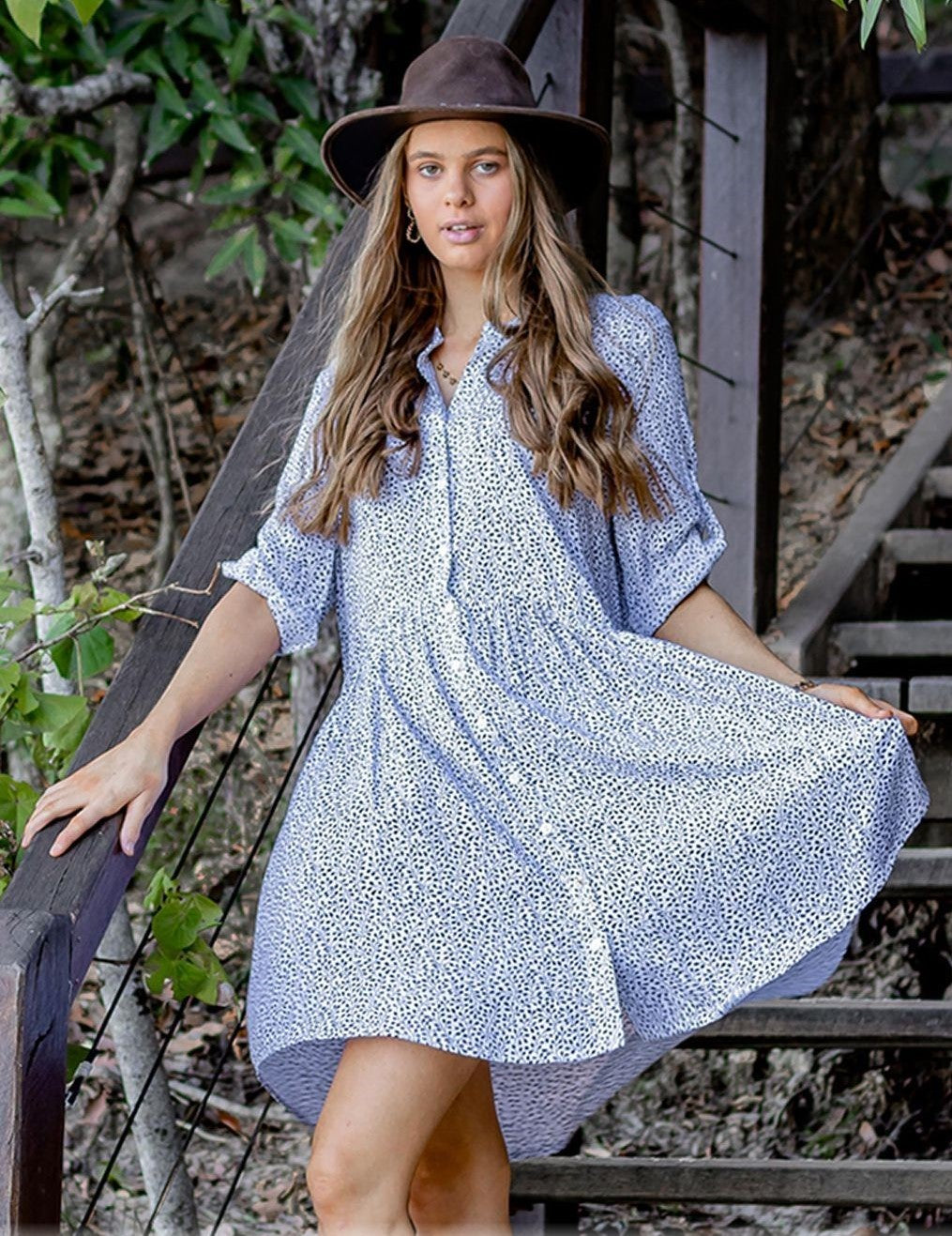 Zen Garden White Leaf Shirt Dress