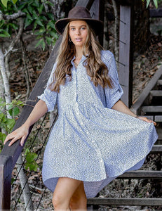 Zen Garden - White Leaf Shirt Dress
