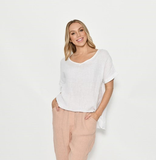 Cali & Co White Linen Top