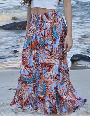 Zen Garden Blue Palm Maxi Skirt