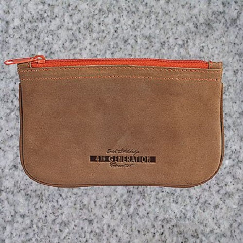 Eric Stokkebye: 4TH GENERATION LEATHER ZIPPER POUCH - BROWN - 4Noggins.com