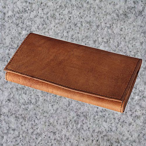 Eric Stokkebye: 4TH GENERATION LEATHER ROLL UP POUCH - BROWN - 4Noggins.com