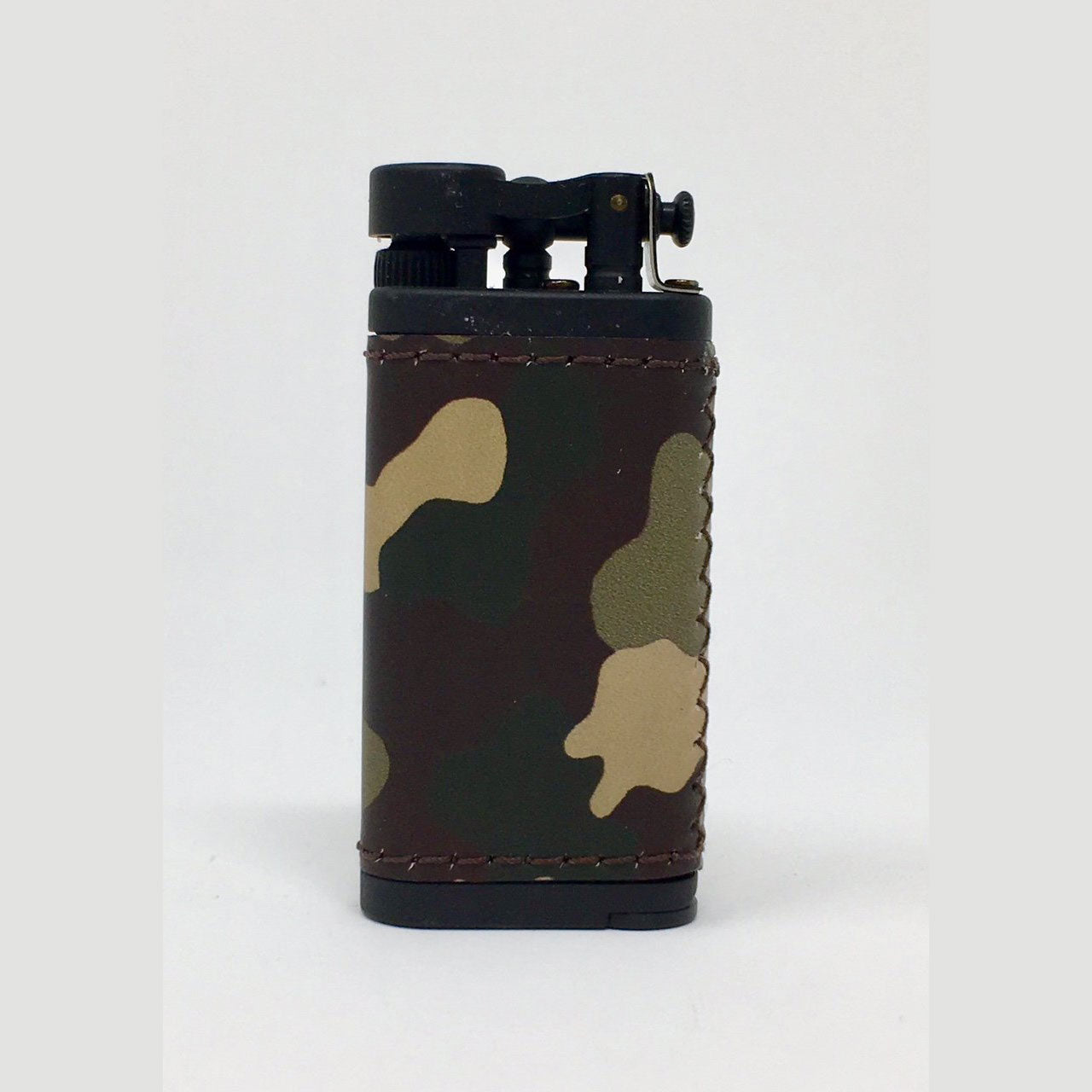 IM Corona: Pipe Lighters:  IM CORONA OLD BOY BLACK AND CAMO LEATHER - 4Noggins.com