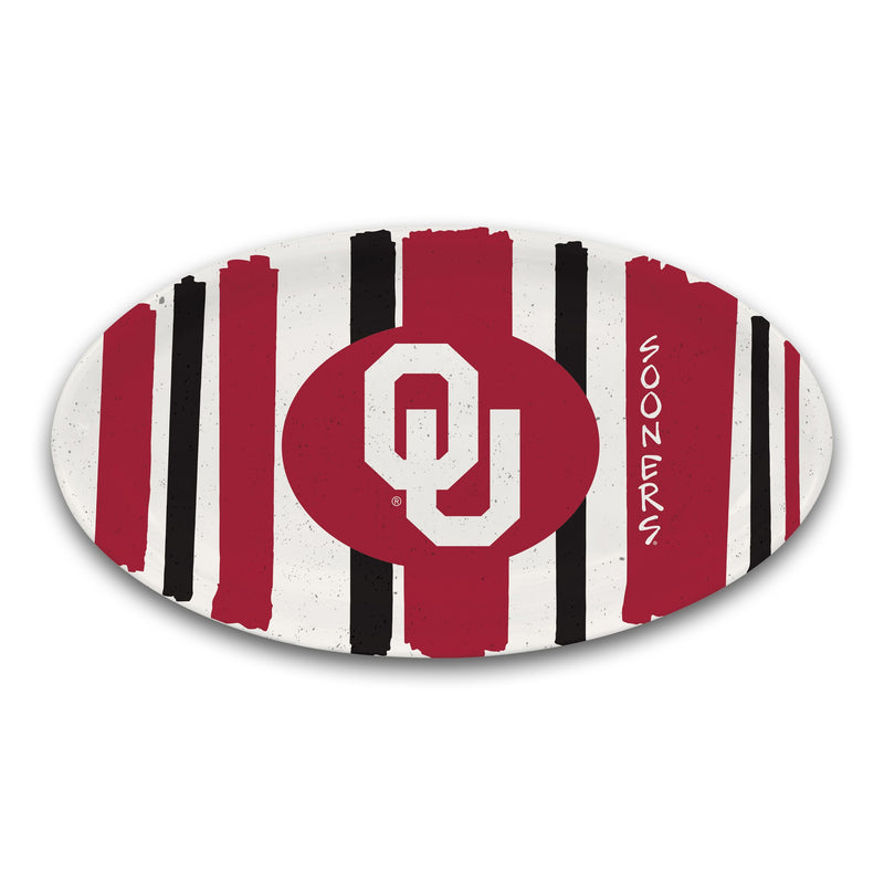 OU Striped Melamine Oval Platter