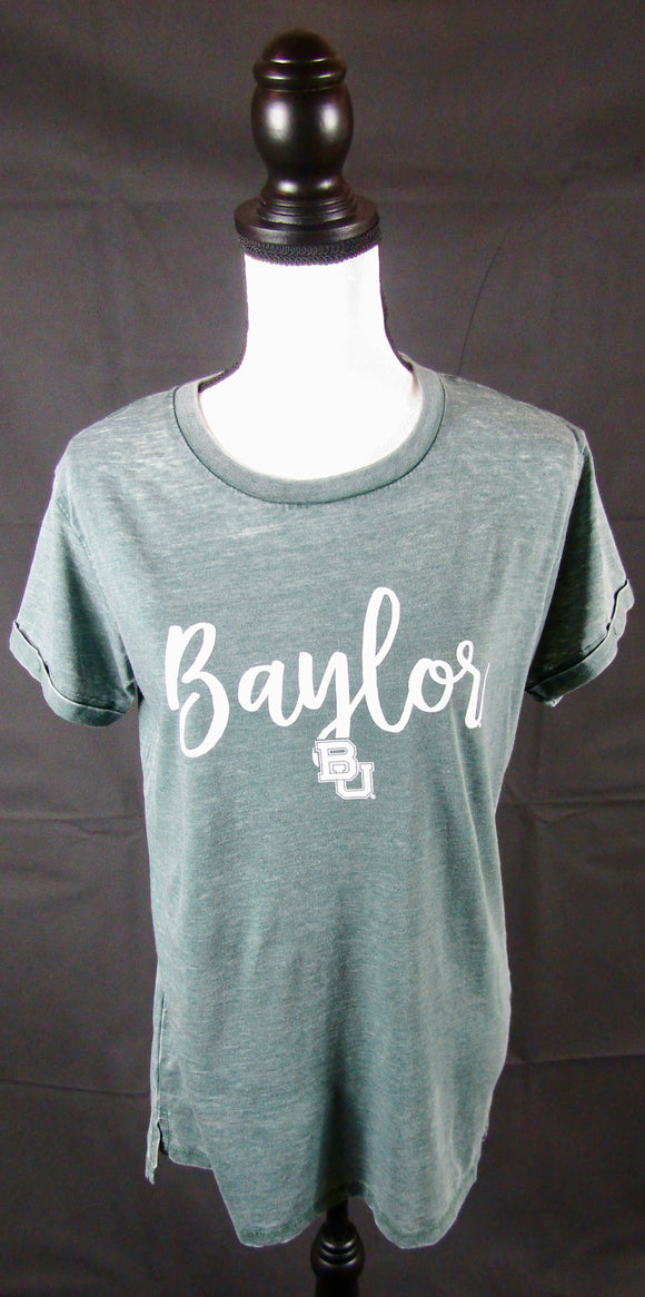 Baylor Green Vintage Wash Crew Neck
