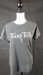Texas Tech Black Vintage Wash Crew Neck