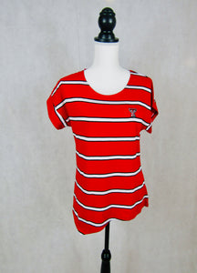 Texas Tech Asymmertical Striped Top