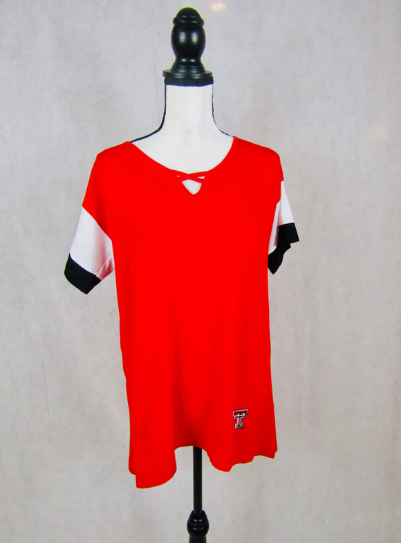 Texas Tech Criss Cross Colorblock Top