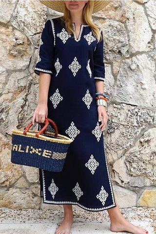 943378724720 Fashion Half Sleeves Embroidered Maxi Vacation Dress