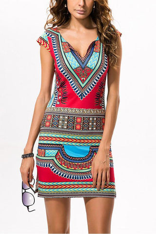 dff287d77a71 Ethnic Printed Slim Vacation Dress