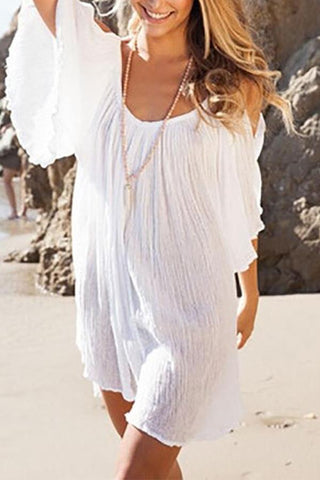 95ac65ad6c74 Bohemia Sexy Plain Off-Shoulder Beach Vacation Dress
