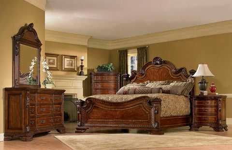 Old World King Bed w/ Dresser Mirror & Nightstand