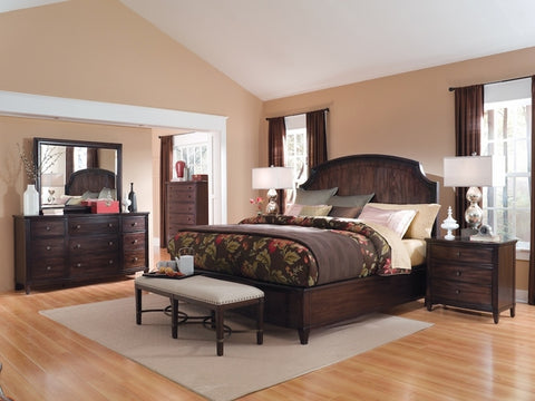 Intrigue Queen Bed w/ Dresser Mirror & Nightstand