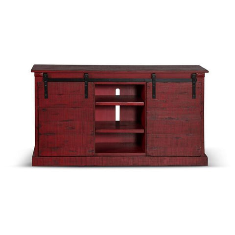 "Shop Sunny Design Burnt Red Barn Door 65"" TV Console at Mealey's Furniture"