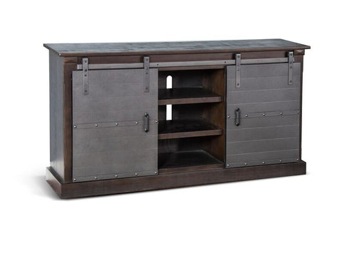 "Charred Oak Barn Door 65"" TV Console"