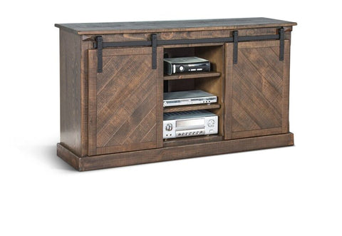 "Shop Sunny Design Tobacco Leaf Barn Door 65"" Tv Console at Mealey's Furniture"