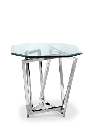 Shop Magnussen Lenox Glass and Chrome End Table at Mealey's Furniture