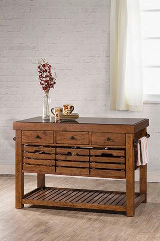 Shop Hillsdale Tuscan Medium Kitchen Island Antique Pine Kitchen Island With Adjustable Shelf/Crates at Mealey's Furniture