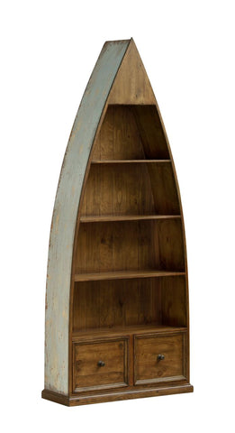 Shop Hillsdale Tuscan Boat Bookcase Sea Blue And Antique Pine 4 Shelves Boat Book Case at Mealey's Furniture