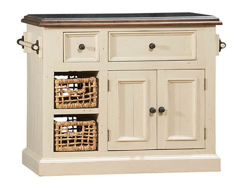 Shop Hillsdale Tuscan Medium Kitchen Island Country White Medium Granite Top Kitchen Island With 2 Baskets at Mealey's Furniture