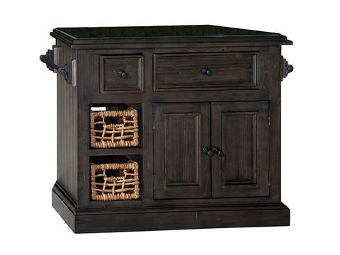 Shop Hillsdale Tuscan Medium Kitchen Island Weathered Gray Medium Granite Top Kitchen Island With 2 Baskets at Mealey's Furniture