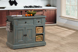 Shop Hillsdale Tuscan Medium Kitchen Island Nordic Blue Medium Granite Top Kitchen Island With 2 Baskets at Mealey's Furniture