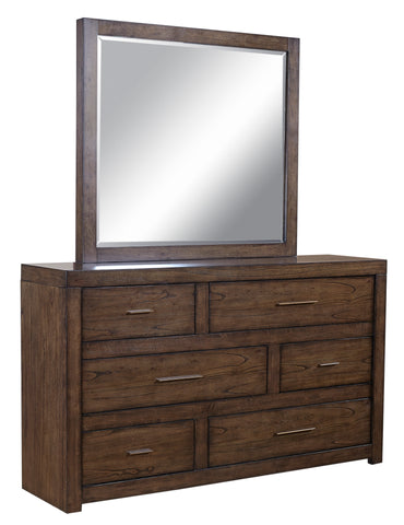 Shop Aspenhome Modern Loft  Brown Dresser & Mirror at Mealey's Furniture