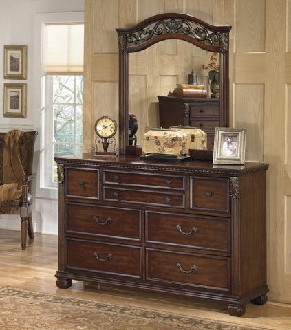 Shop Ashley Leahlyn Warm Brown Dresser with Mirror at Mealey's Furniture