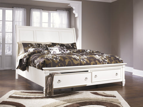 Shop Ashley Prentice White King Sleigh Storage Bed at Mealey's Furniture