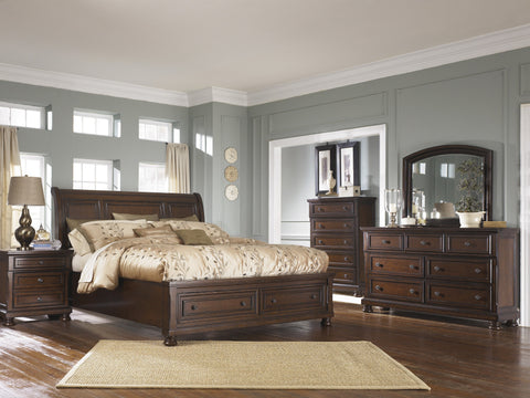Shop Ashley Porter Rustic Brown Queen Sleigh Bedroom Set at Mealey's Furniture