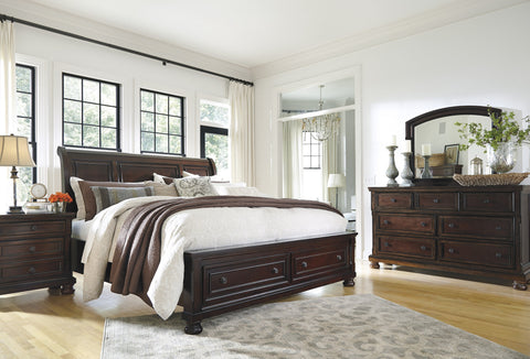 Shop Ashley Porter Rustic Brown King Sleigh Storage Bedroom Set at Mealey's Furniture