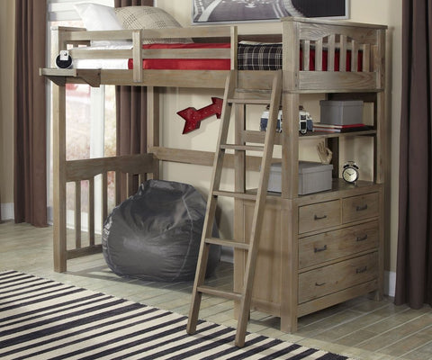 Shop Hillsdale Hudson (Highlands) Driftwood Twin Loft Bed at Mealey's Furniture