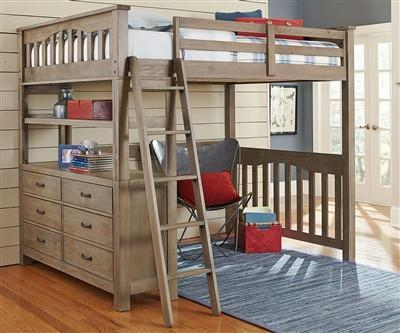 Shop Hillsdale Hudson (Highlands) Driftwood Full Loft Bed at Mealey's Furniture