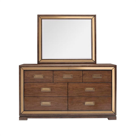 Shop Pulaski Chrystelle Medium Brown Dresser and Mirror at Mealey's Furniture