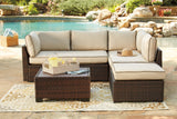 Loughran Beige and Brown 4 Piece Outdoor Set - Ashley shop at  Regency Furniture