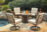 Shop Ashley Predmore Beige/Brown Fire Pit Table with 4 Chairs at Mealey's Furniture