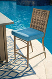 Shop Ashley Partanna Blue/Beige Barstool with Cushion (set of 4) at Mealey's Furniture