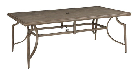 Shop Ashley Furniture Partanna Blue/Beige Rectangle Dining Table with Umbrella Option at Mealey's Furniture