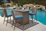 Shop Ashley Furniture Partanna Blue/Beige Fire Pit Bar with 4 Barstools at Mealey's Furniture